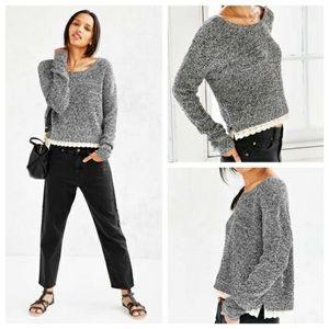 UO Kimchi blue gray sweater lace trim sweater